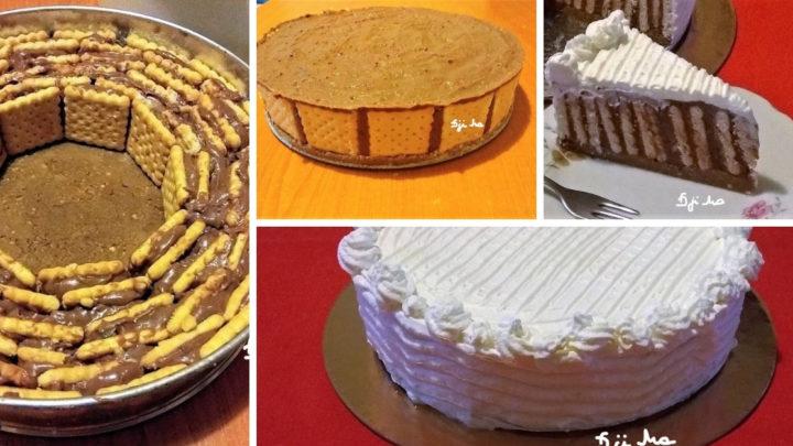 Egy csomó háztartási keksz volt idehaza, amit fel kellett használni, gondoltam keksztorta lesz belőle és finom lett!